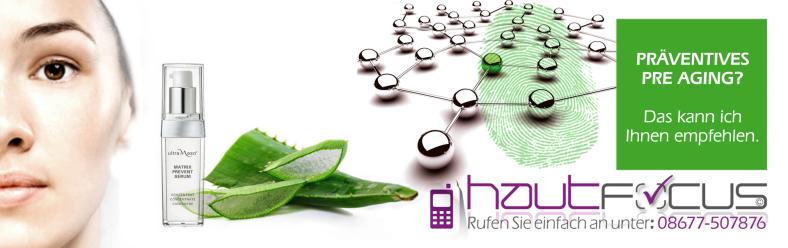 Pre Age Burghausen Bayern / Kosmetikstudio hautFOCUS: Wer jetzt mit den richtigen Hautprävention Programmen beginnt, kann gesund altern, ohne dabei älter auszusehen.